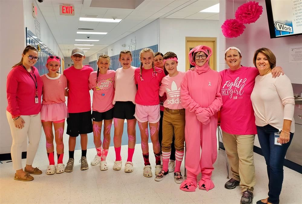 staff and students wearing pink